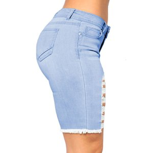 SEBOWEL Mid Rise Blue Distressed Shorts Woman's Summer Fashion Jeans for Female Broken Holes Denim Short Pants Size S-XL