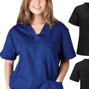Women Men Nursing Shirt Uniform Blouse Short Sleeve V neck Solid Working Tops with Pocket Doctor Plus Size XS 3XL