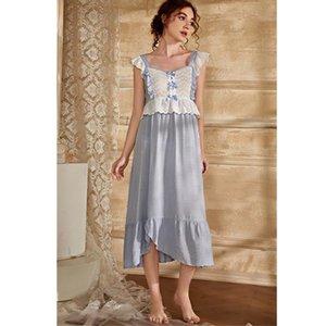 Women's Sleepwear 2021 Vintage Lace Nightgown Women Solid Nightdress Sleep Dress Sweet Lady T985