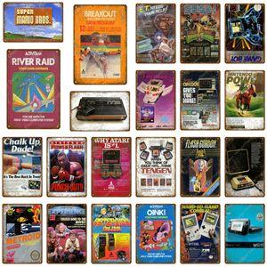 Jogar Video Game Cartucho De Metal Poster Gaming River Raid Tin Sinais Para Pub Bar Crianças Room Game Center Home Wall Decor