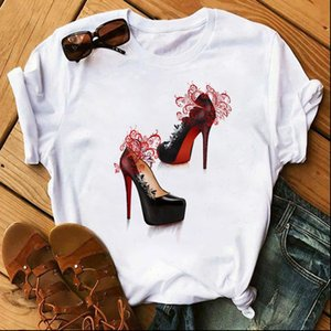 Womens T Shirt Watercolor High Heels Shoes Print Femme Funny Women 90s Hip Hop Punk Girl Casual Tops