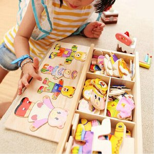 Little Bear Change Clothes Children's Early Education Wooden Jigsaw Puzzle Dressing Game Baby Wooden Puzzle Toys 210330