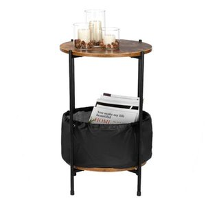 Side Table, Wood Color Round Table Top Two Layers With Artificial Leather PVC Waterproof Cloth Newspaper Bag Wrought Iron Side Table