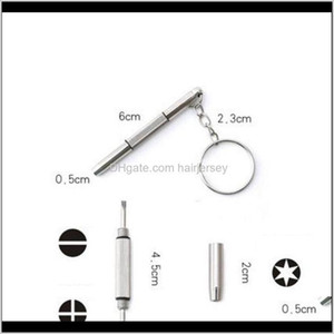 Screwdrivers Wholesale 3 In 1 Aluminum Steel Eyeglass Sunglass Watch Repair Kit With Keychain Portable Screwdriver Hand Tools Dkjem L3Wu0