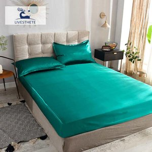 Sheets & Sets Liv-Esthete 1PCS Healthy Luxury Fitted Sheet Mattress Cover Green Bed On Elastic Band Adult Rubber Satin Silk