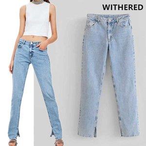 Вернувшаяся женщина улица вымытая джинсовая винтажная мама высокая талия разорвал парень джинсы для женщин T200423