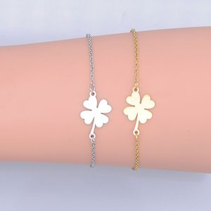 100% Stainless Steel Dainty Lucky Clover Charm Bracelet For Women Wholesale High Polished Bracelets Amazing Quality Factory Sale