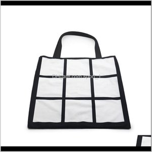 Christmas Decorations Festive Party Supplies Home Garden Drop Delivery 2021 Sublimation Grid Tote Blank White Diy Heat Transfer Shopping 9 Pa