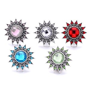 Wholesale Fashion sun Rhinestone Ginger Snap Button Clasp Jewelry Findings Women Men Red blue pink Zircon Charms 18MM Metal Snaps Buttons factory supplier