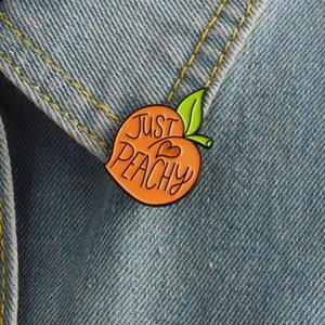 Miss Zoe Cartoon peach enamel pin Fruit peachy badge brooch Lapel pin for Denim coat shirt bag Cute jewelry Gift for girl friend 938 Q2