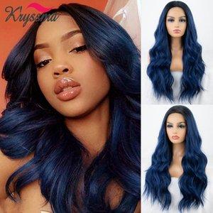 Synthetische Perücken Kryssma Lace Fronthaar lange wellenförmige Ombre Blau für schwarze Frauen Hitzebeständige Perücke Cosplay Tägliche Verwendung