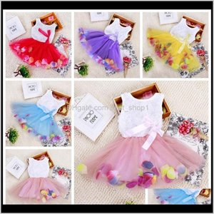 Dresses Clothing Baby, Kids & Maternity Drop Delivery 2021 Babies Clothes Princess Girls 3D Rose Flower Girl Tutu With Colorful Petal Lace Dr