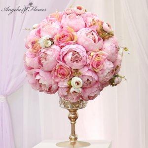 Decorative flower Handmade 35Cm 3 4 Artificial Flower Bal Pioen Book Rose Bruiloft Eettafel Middle Point Party Anniversary Decor Home Diy Craft 0715