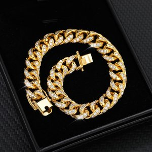 Iced Out Bracelets For Men Women Bling Zircon Crystal Hip Hop Miami Men's Bracelet Gold Cuban Chain Fashion Female Jewelry Gifts Link,