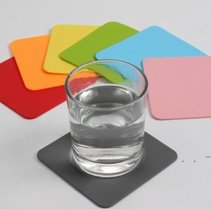 Silicone Drinking Coaster Non-slip Cup Coasters Mat 10CM Square Coffee Mug Tea Cups Bottle Pads Mats Bar Table Decoration Accessory EWF6356