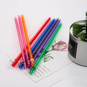 Plastic Transparent Drinks Drinking Straws Milk Coffee Solid Color Straw Eco-friendly Festival Party Kitchen Bar Supplies BH5103 WLY