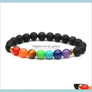 8Mm Natural Black Lava 7 Chakra Reiki Aromatherapy Essential Oil Diffuser For Women Yoga Jewelry Hnuy7 Charm Bracelets W60D9