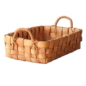 Storage Baskets Hand Woven Bread Fruit Basket And Serving Trays For Dining, Coffee Table, Kitchen Counter, With Handle