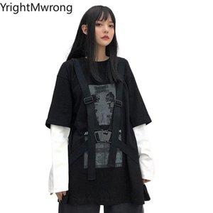 Contrast Sleeve Ribbon Belt Strap Punk Loose T Shirt T-Shirt Streetwear Techwear Harajuku Graphic Woman Man Top Hip Hop Women's