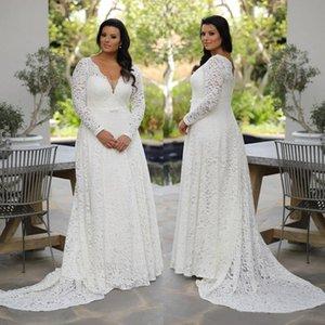 2021 Plus Size Lace Wedding Dresses Deep V Neck A Line Long Sleeves Bridal Gowns Sweep Train robe de mariée