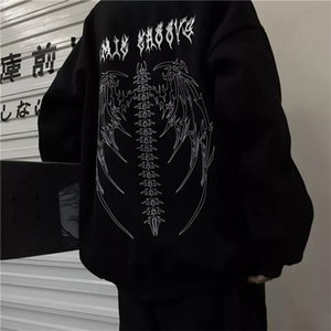 Streetwear Harajuku Hoodie Y2K Tops Girls Retro Gothic Oversized Hood Punk Anime Print Clothes Hip-Hop High Street Sweatshirts 210910