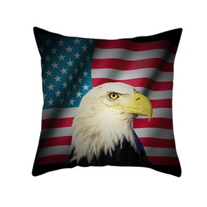 July 4th Holiday Independence Day Pillowcase Plush Digital Printing Pillow Cover Home Decoration Car Pillow Cover 45*45cm EEB6078