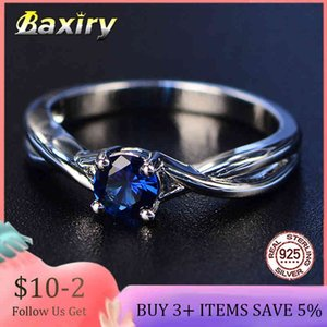 Trendy Gemstones Amethyst Blue Sapphire Ring Silver 925 Jewelry Aquamarine for Women Engagement Rings