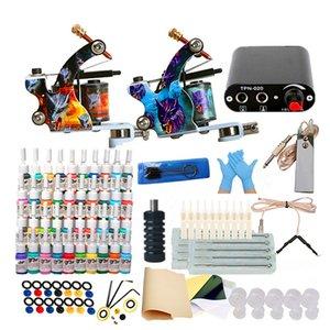 Tattoo Machine Pun 6/14/40 Цвета чернил одноразовые перчатки Мини электропитание набор для начинающих татуировки комплекты тела искусства