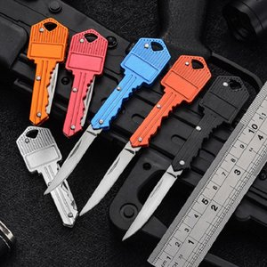 Key Shape Mini Folding Knife Fruit Knife Multifunctional Key Chain Knife Outdoor Saber Swiss Self-Defense Knives EDC Tool Gear GGA4976