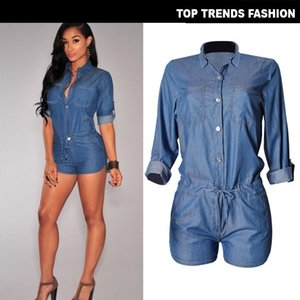 2019 Woman Summer Playsuits Shorts Short Casual Jumpsuits Jeans Coverall Women Blue Denim Overalls Shirt Rompers