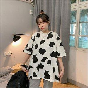 Femmes T-shirts Été Mode Été Femme O Cou Courtes À Manches courtes Femme Tee Tee Tee Tops Vache Imprimer Chemise Harajuku Mesdames surdimensionnées