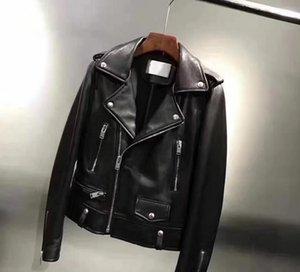 Осложненные шеи мужские овчины натуральная кожа куртка улица мода мотоцикл куртки Ykk молния