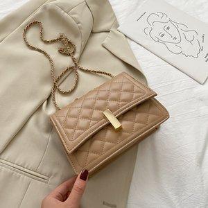 All-match simple trendy fashion rhombus chain messenger shoulder bag