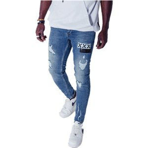 Designer Mens Holes Skinny Pencil Pants With Single Patches Fashion Male Casual Washed Out Jeans