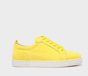 Хорошее качество мужские повседневные кроссовки для обуви Низкие вершины квартиры младший орлато желтый замшевый кожа, роскошные парижские спортивные коньки плава на шнуровке красных резиновых тренажеров