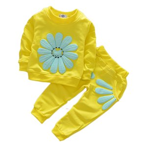 Newborn Baby Girls Clothes Set Flower Long Sleeve Tops + Pants 2PCS Outfits Kids Clothing Childrens Suits print floral 50 Z2