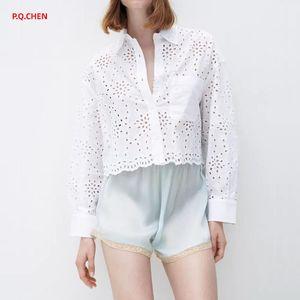 Women's Blouses & Shirts P.Q.CHEN White Shirt Women 2021 Cutwork Embroidery Crop Top Female Long Sleeve Button Up Woman Elegant Summer Blous