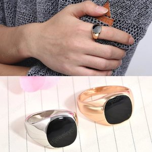 Mens Silver Rose Gold Rings Male Fashion Wedding Jewelry Square Black Vintage Jewelry Boho Gifts for Men