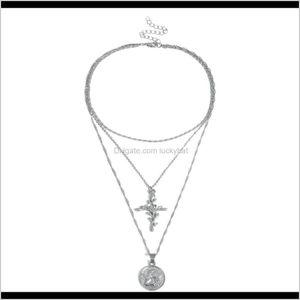 Chokers Vintage Sier Gold Long Choker Charm Leaf Cross Pendant Metal Necklace Shellhard Punk Jewelry For Women Valentine Gift Cbcnu Hzv3F