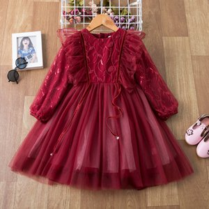 Princess girls Dresses Sequined lace baby Dress Winter Long Sleeve kids Clothing piano show children Party clothes