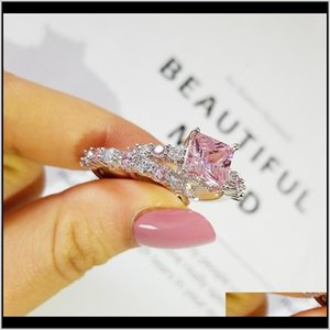 Rings Drop Delivery 2021 Luxury Pink Princess 925 Sterling Sier Wedding Ring Set For Women Lady Anniversary Gift Jewelry Wholesale R5173 Rl1K