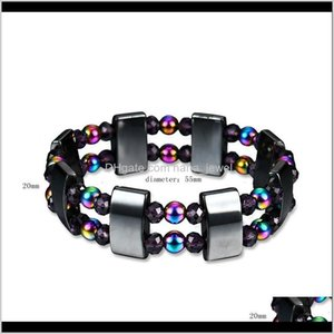 Beaded Strands Jewelry Drop Delivery 2021 Mens Healing Square Rainbow Stone Bracelets Fashion Black Magnetic Hematite Beads Bracelet Muztm
