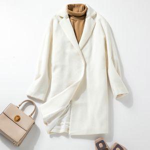 Leijijeans Winter Neue weiße Wolldamen Mantel Gerade Lose Casual Damen Mantel Elegant empfindlich