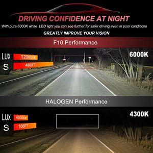Car Headlights Red + Gray Sliver Aviation Aluminum LED Headlight Bulbs 6500K 8000LM Auto Headlamp IP67 Waterproof