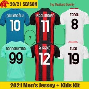 20 21 AC Milan Soccer Jerseys IBRAHIMOVIC 2021 KESSIE R.LEAO THEO REBIC Football Shirt DONNARUMMA Goalkeeper Jersey TONALI Maglia da calcio