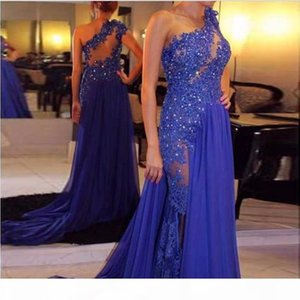 Royal Blue Evening Dresses 2021 Floor Length Chiffon See Through One Shoulder Appliqued Lace Party Gown Plus Size vestidos