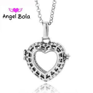 Lucky Heart Pattern Perfume Cage Necklace Engelsrufer Pendant Sound Angel Ball Bola Essential Oil Jewelry L058 Mom Gift Necklaces