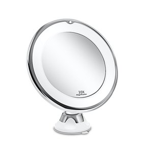 Makeup Mirror with Light 1X 10X Magnification Double Sided 360 Degree Rotation LED Vanity Chrome Finished Touch Control Battery-Powered