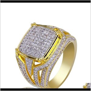 Solitaire Mens Retro Style Design Cz Bling Ring Micro Pave Cubic Zirconia Simulated Diamonds Hip Hop Size7Size11 Rings P51Gs Bizyv