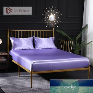 Liv-Esthete Women 100% Satin Silk Lilac Fitted Sheet With Elastic Band Silky Healthy Bed Linen Double Twin Queen King Flat Sheet Factory price expert design Quality